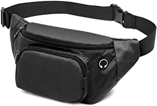 Fanny Pack, F-Color Waterproof Fanny Pack for Women Men with Adjustable Belt, Large Capacity Waist Pack with Headphone Jack and Key Chain, Hip Bum Bag for Outdoors Workout Travel Sport