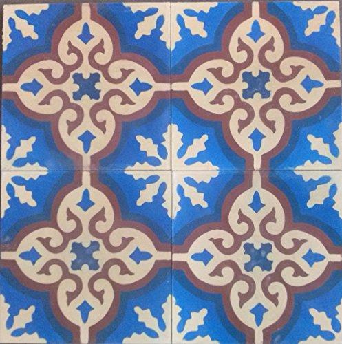 4 Zementfliesen spanische Fliesen - Handarbeit - Fliesenspiegel Ornament Küche Neubau