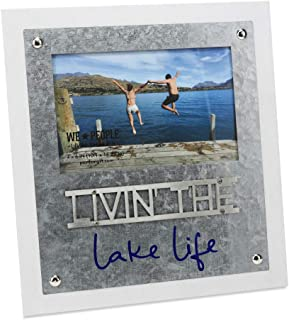 Pavilion Gift Company 4x6 Inch Easel Back Picture Frame Livin' The Lake Life, 4x6, White