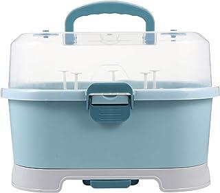 NUOBESTY Support de Séchage de Biberon avec Couvercle Boîte de Rangement de Biberon Portable Organisateur de Vaisselle pou...
