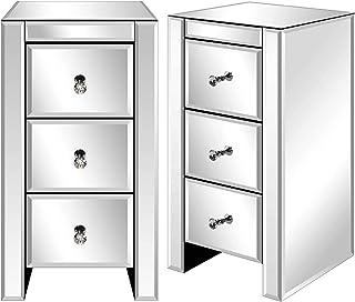 Table de Chevet Lot de 2, Miroir Meuble de Rangement en Verre avec 3 Tiroirs sur Salon, Chambre, Bureau Salle de Bains et...