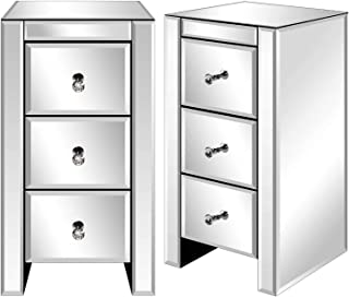 Table de Chevet Lot de 2, Miroir Meuble de Rangement en Verre avec 3 Tiroirs sur Salon, Chambre, Bureau Salle de Bains etc...