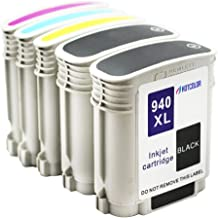 HOTCOLOR 5 Pack 940XL Ink Cartridge (2 Black 1 Cyan 1 Magenta 1 Yellow) Remanufactured for HP 940XL for HP Officejet Pro 8000 8500 Printer