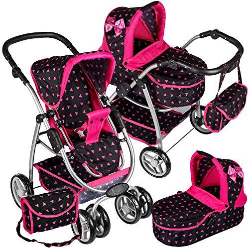 Puppenwagen Puppenwagen Babypuppenwagen KP0300R Kinderwagen Puppe Sportsitz NEU Puppenkar höhenverstellbar, zusammenklappbar, 4-rädriger Puppenwagen Kombi Tragetasche Babypuppenwagen