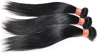 "Remeehi Brazilian Silk Straight Virgin Hair Natural Black Straight Hair Weft Mixed Length Human Hair Extensions Straight Hair Bundles 3Bundles 50G/Bundle(26"" 26"" 26"")"