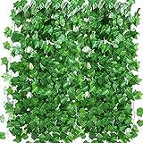 12 Pack 90 FT Artificial Ivy Garland, Fake Ivy Leaf Plants Vine Greenery Garland Home Kitchen Balcony Garden Office Wedding Wall Decor