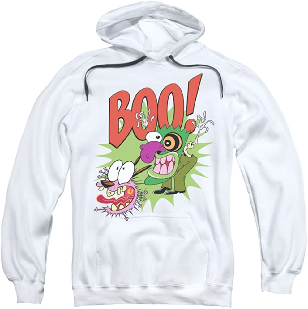 Trevco Courage The Cowardly Dog/Stupid Dog-Adult Pull-Over Hoodie-White-MD