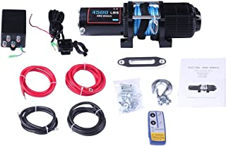 cciyu Electric Winch, 12V 4500 lbs Winches for Towing ATV UTV with Clevis Hook+Aluminum Fairlead+Control Box+Wireless Remote Control+Switch Assembly+Negative/Positive Wire+Bolts+Instruction Manual