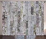 Cortinas con estampado de madera, tablas de madera de roble de color pastel de una casa de campo en el estilo de vida natural del campo, cortina para dormitorio, comedor, sala de estar, juego de 2 pan