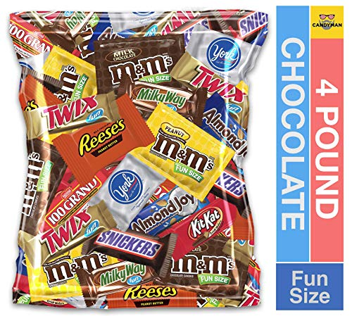 (4 Pound) Variety Assortment Chocolate Mix Bulk Pack M&M's Peanut, M&M's Plain, Reese's Peanut Butter Cups, Snickers, Kit Kat, Twix, Milky Way, Almond Joy, 100 Grand, York Peppermint Patties