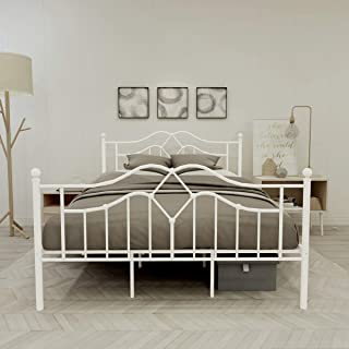 Metal Bed Frame Queen Size Platform No Box Spring Needed with Vintage Headboard and Footboard Premium Steel Slat Support Mattress Foundation White