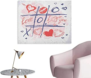 Anzhutwelve Valentines Day Poster Wall Decor XOXO Game with Lips Sketchy Circles Hearts Romantic Love Theme Wall Poster Blue Red and White W32 xL24
