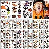 Tatuajes Temporales Halloween Niños KEELYY 30 Hojas Tatuaje Pegatinas para Niños,Maquillaje de fiesta de Halloween, fantasmas, telas de araña, calabazas Pegatinas Regalos para niños de Halloween