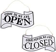 Amosfun Open and Closed Sign Double-Sided European Style Vintage Hanging Door Ornament Business Sign for Cafe Hotel Shop Christmas Birthday Gift
