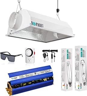 TOPHORT-Upgrade 1000 Watt HPS MH Electronic Dimmable Grow Light System Kits Air Cooled Reflector Hood Set-Easy to Set Up