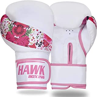 Hawk Pink Boxing Gloves Ladies Women's Flowers Girls Leather Training Gloves Bag Gloves Mitts Muay thai Kick Boxing Gloves