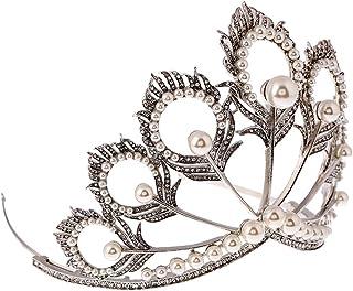 Lurrose 女性のための真珠の羽形のティアラ高級手作りクラウンとラインストーンクラウンピーコック