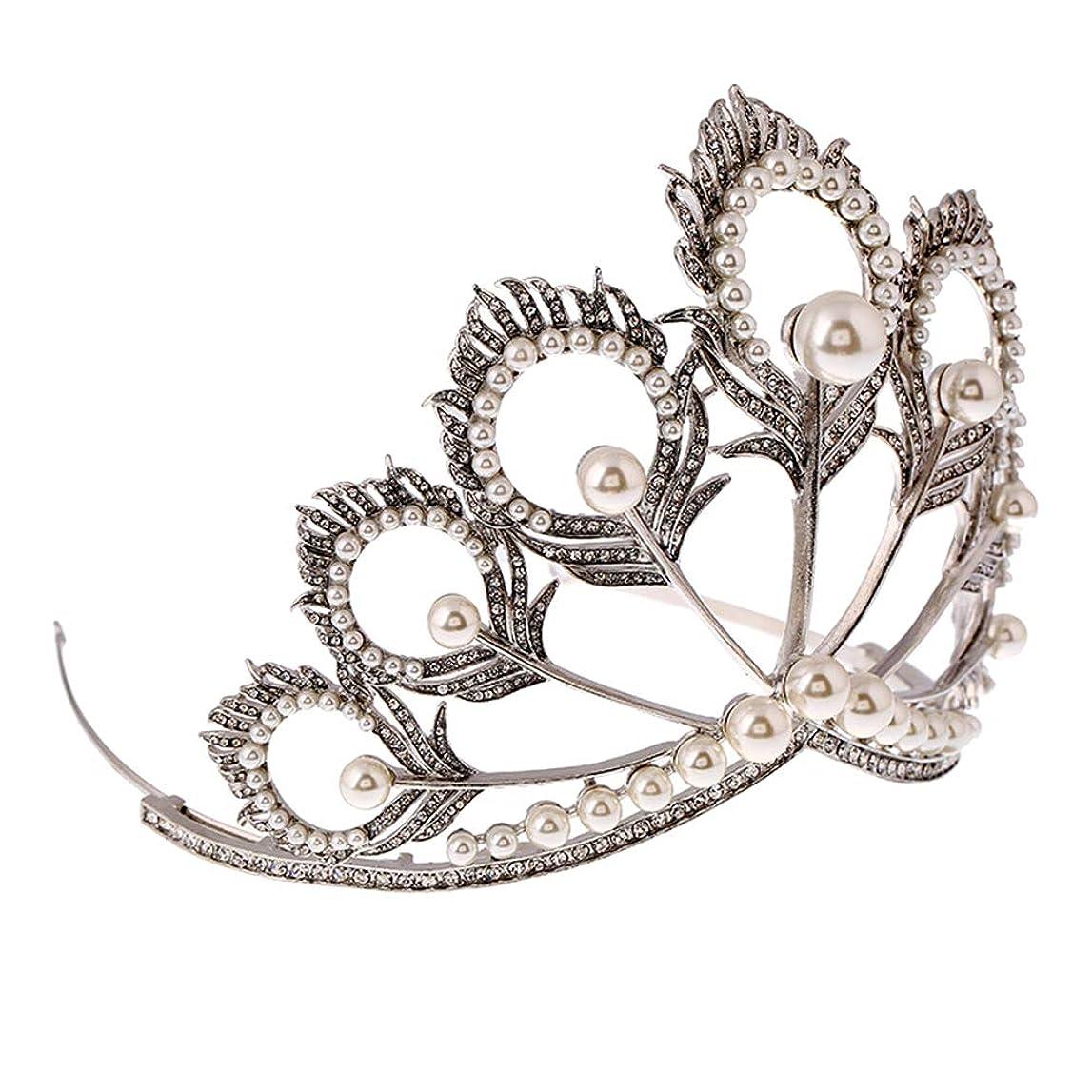バン隠されたスリーブLurrose 女性のための真珠の羽形のティアラ高級手作りクラウンとラインストーンクラウンピーコック