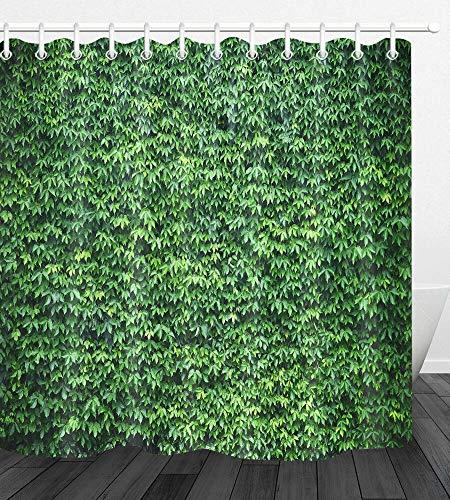 JHTRSJYTJ Efeu grüne Blattwand Duschvorhang ist geeignet für Badezimmer,Polyester wasserdicht,12Haken,180X180cm,Wohnkultur