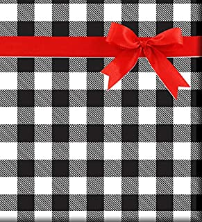 Black and White Plaid Gift Wrap Wrapping Paper-15ft Roll w. Gift Tags