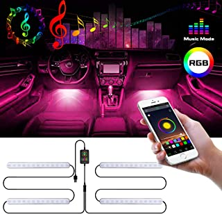 Auto LED interior lighting Waterproof with 4pcs 48 LEDs,Multi DIY Colour Music Sound-activated Car Lighting USB Port Car Charger Light Bar,DC 5V Zorara RGB Car Strip LED Lights APP Controlled