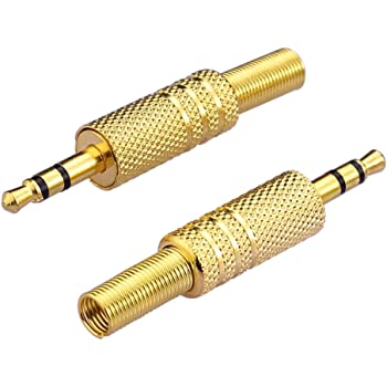"""Eightnoo 2 Pcs 1/8"""" 3.5mm Male Plug Coax Cable Audio Adapter Connector Solder"""
