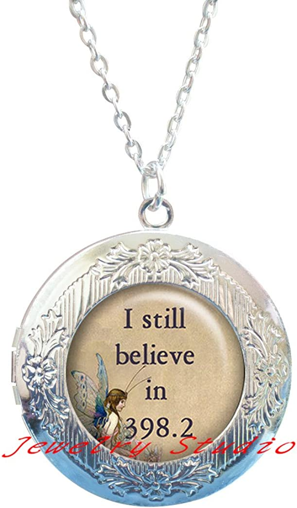 I Still Believe in 398.2 Fairy Tale Locket Necklace, Fairy Jewelry Librarian Gift, Valentines Gift Romantic Love Fairy Locket Necklace Fairy Locket Pendant-HZ00377