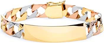 Wellingsale 14k White Gold Polished Stampato Oval ID Bracelet 6