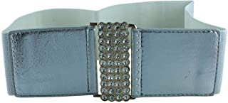 CHOCOLATE PICKLE New Womens Diamonte Stone Buckle Elasticated Wide Cinch Waistband Belts One Size