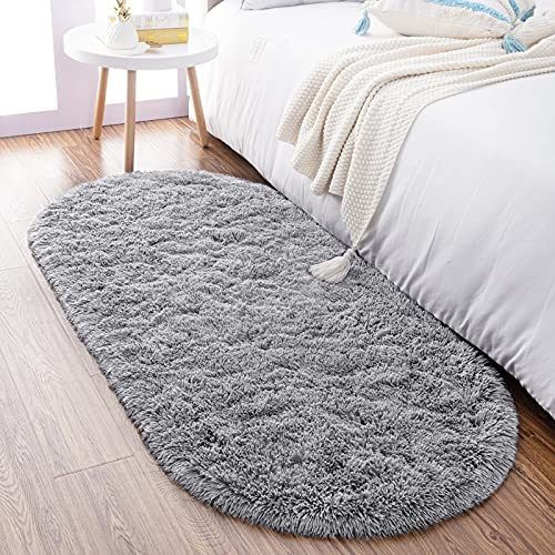 soft rugs for bedrooms Noahas Ultra Soft Fluffy Bedroom Rugs Kids Room Carpet Modern Shaggy Area Rugs Home Decor 2.6' X 5.3', Grey