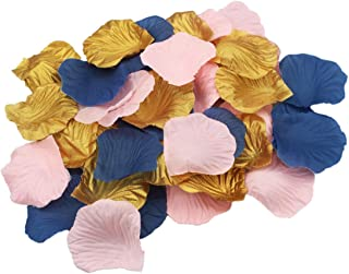 ALLHEARTDESIRES 900 Pack Pink Navy Blue Gold Party Table Confetti Artificial Flower Rose Petals Nautical Baby Shower Wedding Birthday Decoration Scrapbooking Craft Sewing Flower Girl Basket Decor