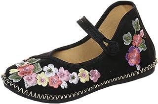ec91c3c8e2d24 SK Studio Femme Mary Jane Plat Ballerines Traditionnelles Fait Main Brodées  Mocassins Chinoises en Toile Chaussures