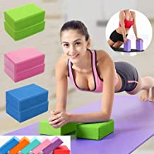 CWM Yoga Blocks 1 or 2 Pack High Density EVA Foam Blocks Soft Non-Slip Surface Exercise Fitness Sport for Yoga, Meditation...