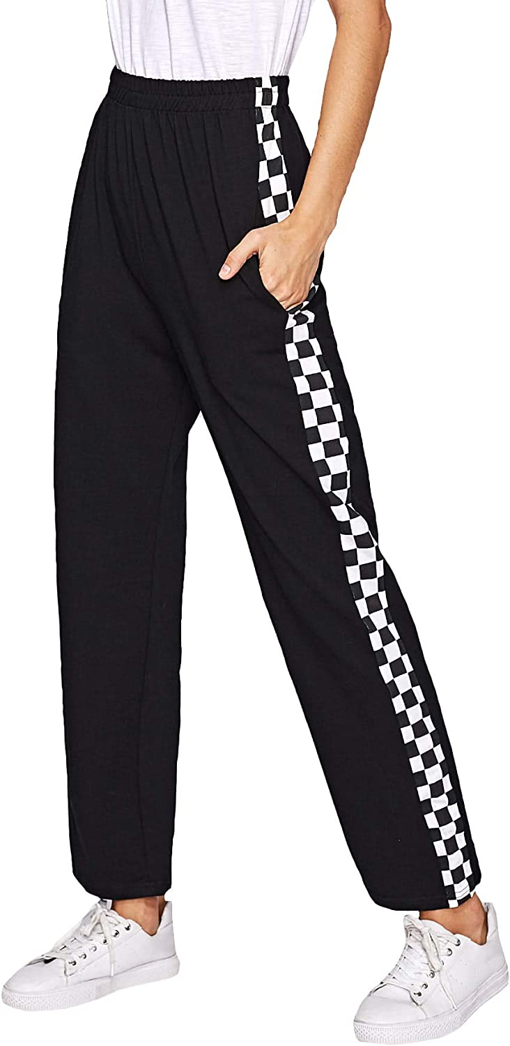 SheIn Women's Checkered Elastic Waist Straight Leg Penal Sweatpants with Pockets