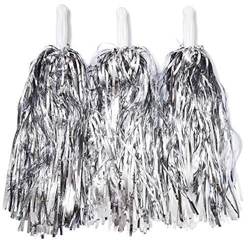 Juvale Sports Cheerleading Pom Poms, Metallic Silver (12 Pack)