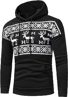 Chejarity Sudadera de manga larga con capucha para hombre, diseño navideño de alce y copo de nieve, con cordón, bolsillo t...