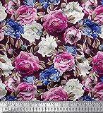 Soimoi Rosa Samt Stoff Blätter & Floral Bedruckten Stoff 1