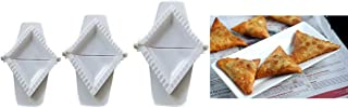 ARTC Set of 3 plastic samosa pie & ravioli dumpling mold, triangle shape mould press - قطاعات السمبوسه ثلاث احجام