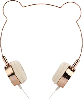 SOMOTOR Wired Panda Headphone, Bear Ear, Cute and Fashionable Style Rose Gold, for Girls