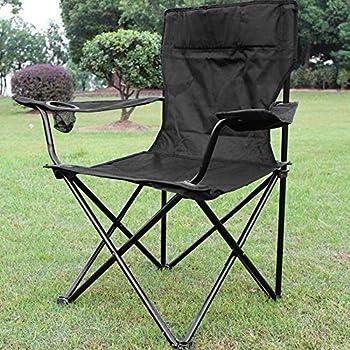 Chaises Pliantes, Chaise de Camping avec Porte-Boisson, Fauteuils metteur en scène Pliable, Chaise de pêche, env. 50 × 50 cm, Charge Max. 130 kg (Noir)