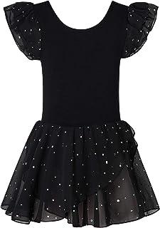 Lovefairy Gymnastics Leotards for Girls Ruffle Sleeve Ballet Dance Dress with Sparkly Tutu Skirt 3-11 Years