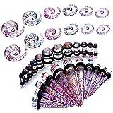 BodyJ4You 36PC Gauges Kit Ear Stretching 8G-00G Glitter Multicolor Acrylic Spiral Taper Plug Piercing