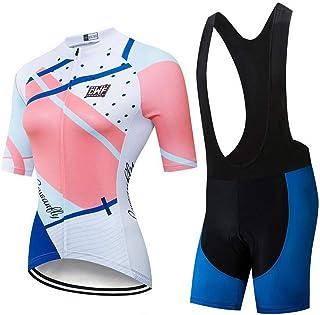 AQWWHY Camiseta de Ciclismo de Manga Corta para Mujer Conjunto de Ciclismo Camisa de Ciclismo de Carretera Jersey Bib Shorts con Acolchado 3D Antideslizante