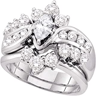 14k White Gold Diamond Ladies Womens Bridal Engagement Ring with Matching Wedding Band Two 2 Ring Set Solitaire with Side Stones Channel Set Marquise and Round Cut Diamond Ring (1.99 cttw, 2/5 ct Center)