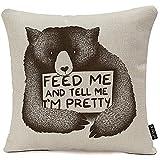 Aliméntame y dime que soy una bonita funda de almohada de oso Decoración decorativa para el hogar Bonito regalo Cuadrado Funda de almohada interior al aire libre Tamaño: 45 * 45 cm (dos lados)