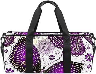 DJROWW Reisetasche aus Segeltuch mit violett-goldenen Schmetterlingen und Blumen, für Fitnessstudio, Sport, Tanzen, Reisen, Wochenendausflüge, transparent