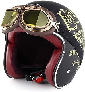 Halbschale Motorradhelm,Brain-Cap /· Jet-Helm Offenes Motorrad-Helm Roller-Helm Scooter-Helm Mofa-Helm f/ür Bobber Chopper Crash Cruiser Pilot Biker Racing mit Visier Color : A , Size : M= 55~60CM