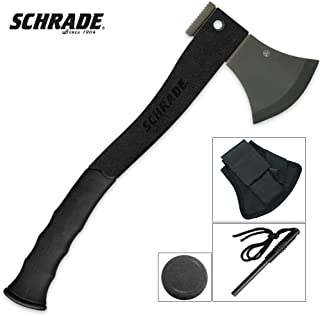Schrade SCAXE2L 15.7in Large Survival Axe with 4.2in Stainless Steel Blade and Glass Fiber PA and TPR Rubber Handle for Outdoor Survival Camping and Everyday Tasks