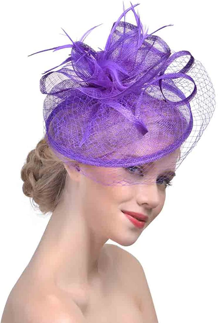 Wedding Fascinator Hats for Women Feather Cocktail Party Hats Bridal Kentucky Derby Headband