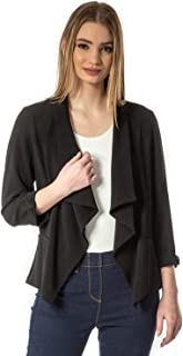 Roman Originals Women Textured 3/4 Sleeve Jacket - Ladies Formal Special Occasion Event Everyday Party Casual Versatile Sp...
